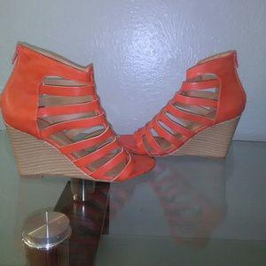 New women's orange wedges with back zipper